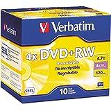 Verbatim 94839 DVD+RW Discs, 4.7GB, 4X, w/Slim Jewel Cases, Pearl, 10/Pack