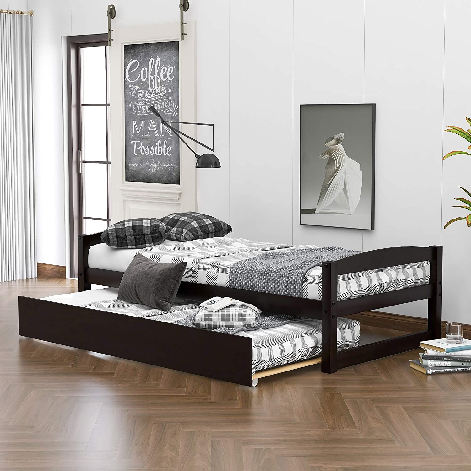 Wood Daybed With A Trundle Trundle Daybed Twin Size Standard Twin Bed Frame No Box Spring Required Espresso Kitchen Dining