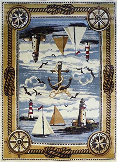 Masada Rugs Nature Area Rug Nautical Scene 5 Feet 2 Inch X 7 Feet 1 Inch