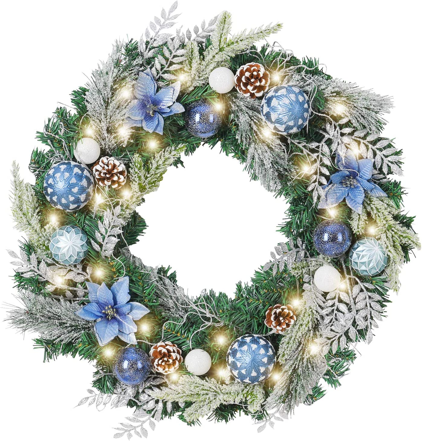 Wanna Cul Pre Lit 24 Inch Christmas Wreath For Front Door Silver Blue Christmas Door Wreath Decoration With Ball Ornaments Poinsettia Flowers Pine Cones Battery Operated 30 Led Lights Kitchen Dining