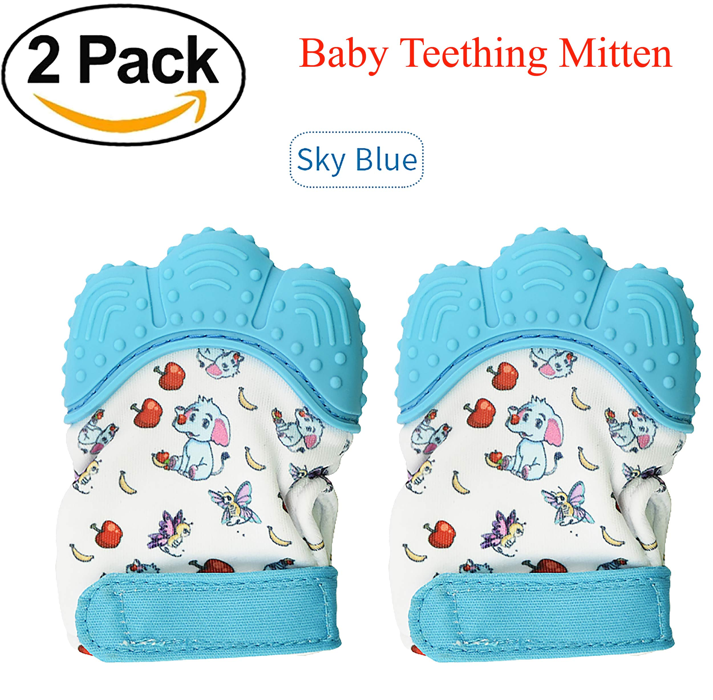 O'zone Baby Teething Mittens - Teething Mitten Provides Soothing Pain Relief Babies, Infants Toddler - Safe BPA-Free Baby Teething - Effective Anti-Scratch 3 to 12 Month Old Baby (Blue) by O'zone (Image #6)