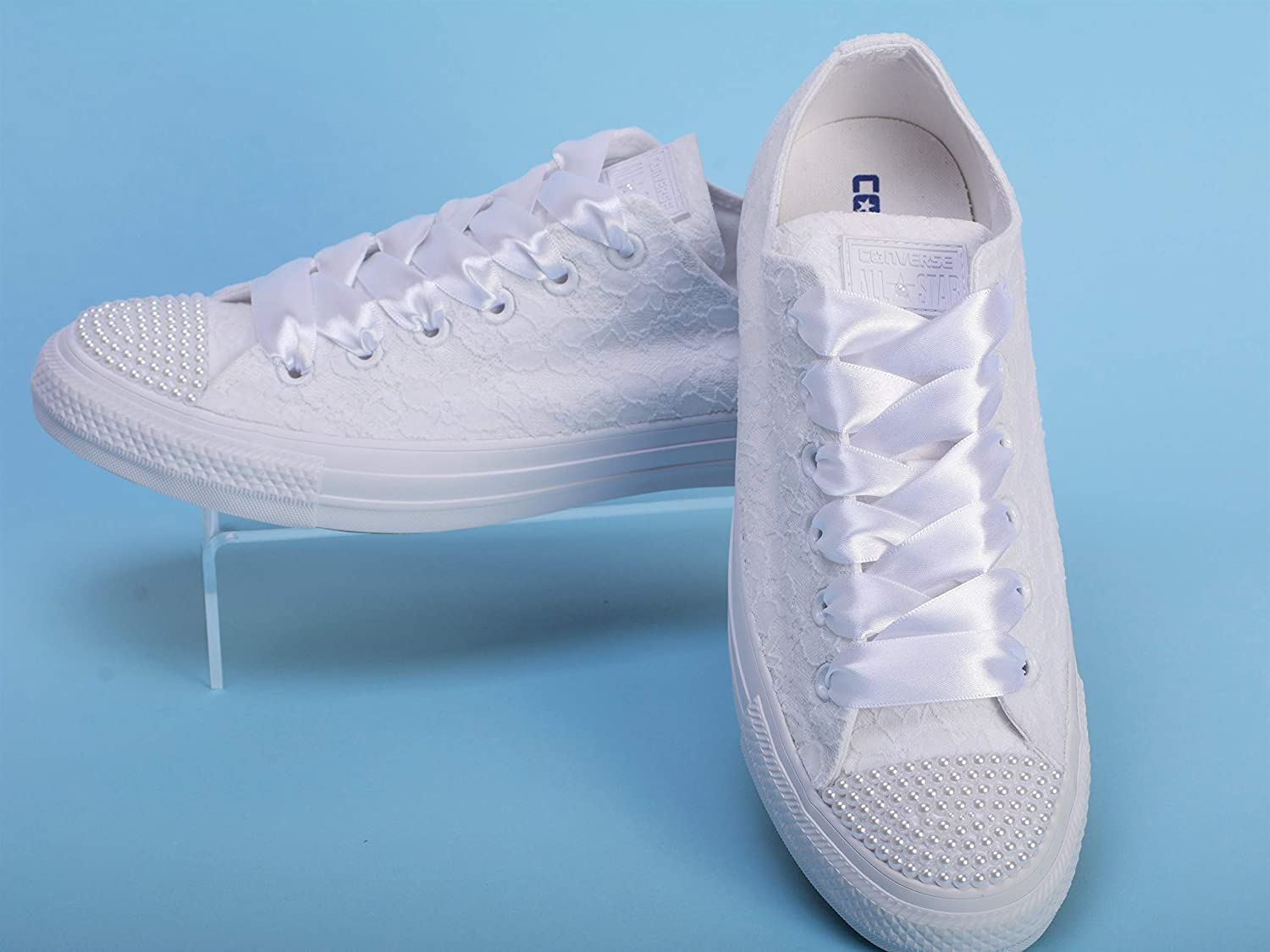9838f6e61cd White Pearl Wedding Sneakers For Bride, Lace Bridal Trainers ...