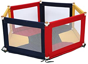 Liberty House Toys Multi-Coloured Hexagonal Pokano Fabric Playpen and Mat 61cm H x 140cm W x 160cm L, POK11C