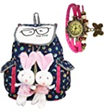 TrendyAge Girl's Canvas Backpack (Multicolour, 33x13x29cm)