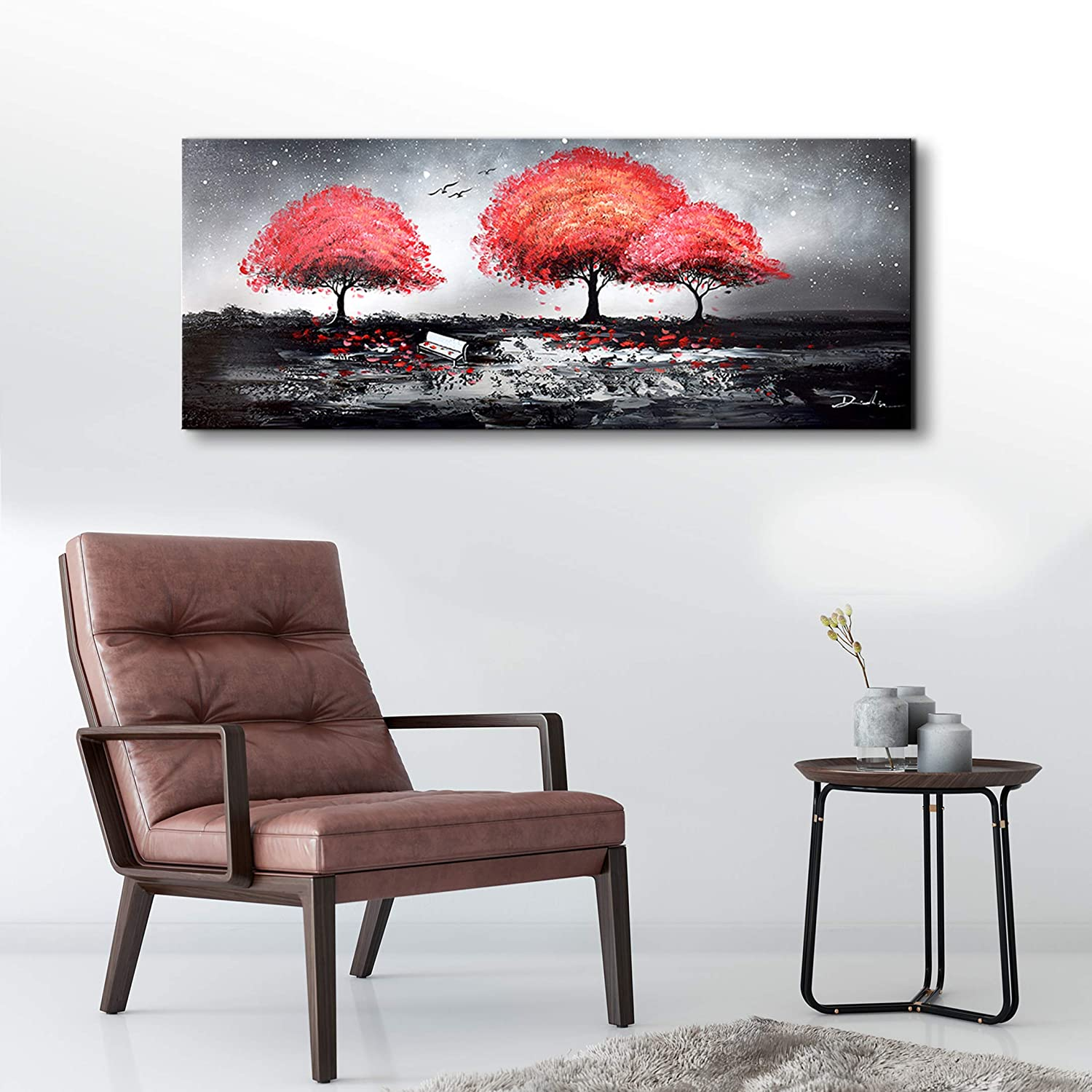 Large Modern Wall Art Red Tree Fall Landscape Oil Painting on Canvas Black and White Artwork Stretched and Framed Ready to Hang for Living Room Bedroom Office Wall Art Home Decoration 24×48 inches