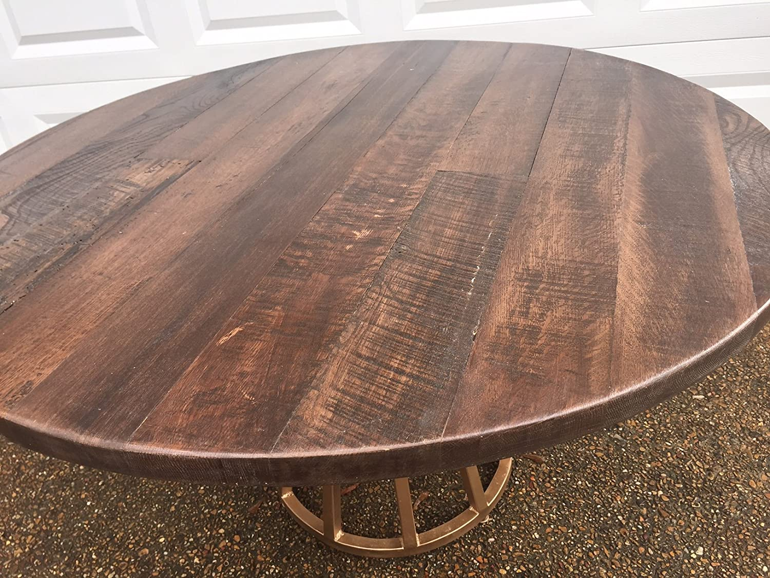 Amazon Com Wood Table Dining Table Reclaimed Wood Table Round Table Pedestal Base Handmade