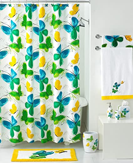 Shower Curtain Vera Flights Of Fancy Butterfly Green Blue Yellow On White 70 X 72