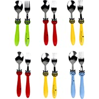 Perpetual Bliss Stainless Steel Set of Fork with Spoon for Kids|Cutlery Set for Kids/Birthday Return Gift (Pack of 6)