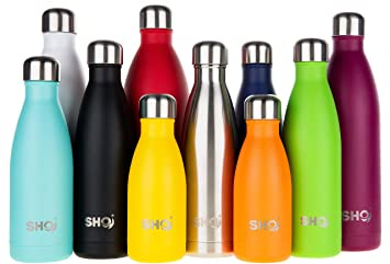 da0c0aed19 SHO Bottle - Ultimate Insulated, Double Walled Stainless Steel Vacuum Flask  & Water Bottle - 12 Hours Hot & 24 Hours Cold - 260ml, 350ml, 500ml, ...
