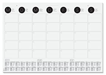 SIGEL HO550 Vade de papel de sobremesa / calendario de pared con calendario trianual actual y planificador vista mensual, 59.5 x 41 cm, 12 hojas