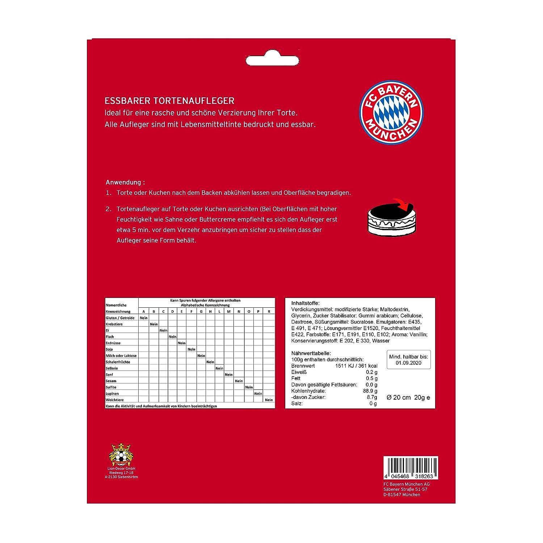 FC Bayern M/ünchen D/écoration de g/âteau Comestible avec Logo I Love M/ünchen