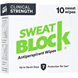 SweatBlock Clinical Strength Antiperspirant Wipes- Treat Hyperhidrosis & Excessive Sweating - Up to 7 Days Protection…
