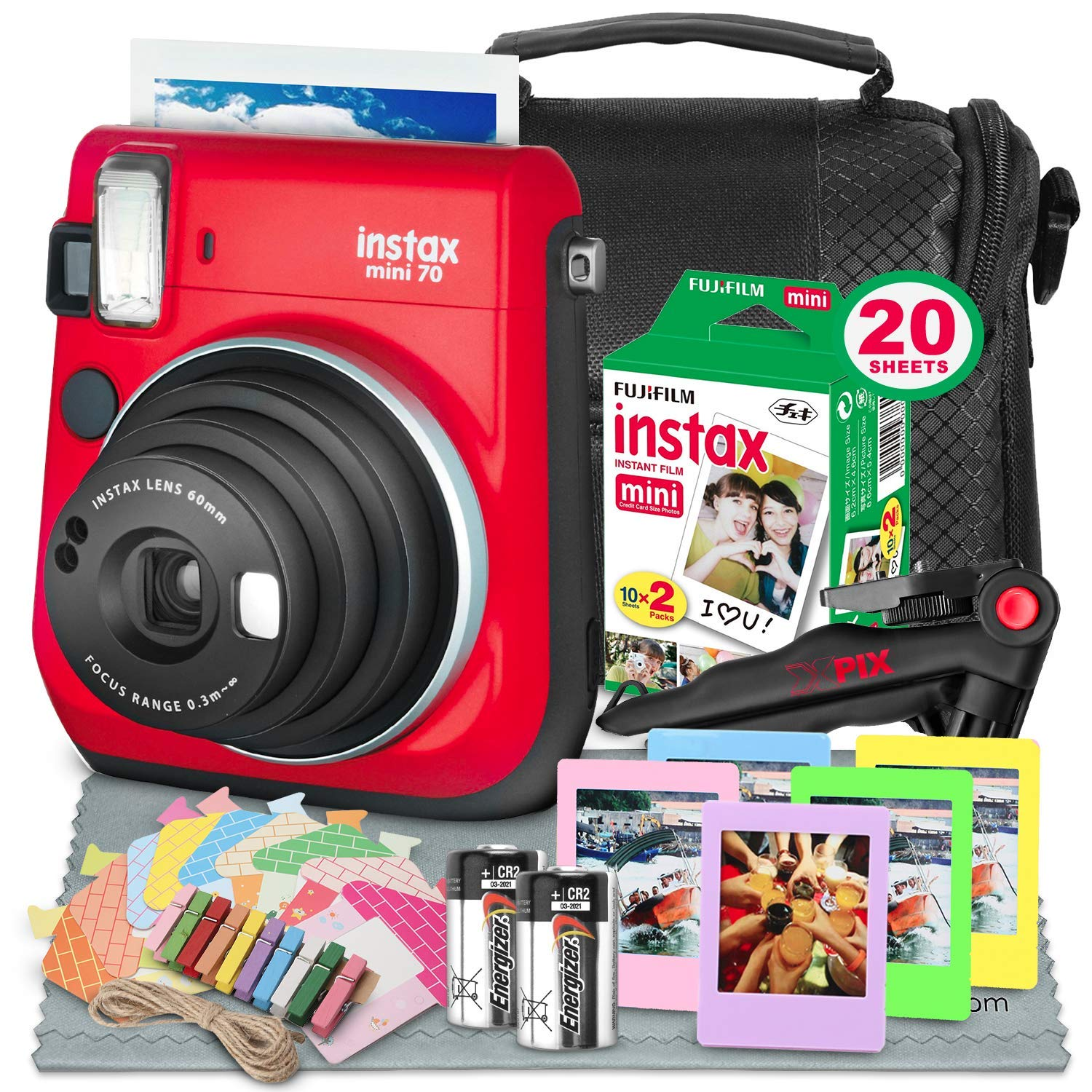 Fujifilm Instax Mini 70 Instant Film Camera (Red) W/Deluxe Accessory Bundle Instax Twin Pack Instant Film, Frames + Xpix Table Top Tripod, CR-2 Battery + Fibertique Cleaning Cloth by Fujifilm