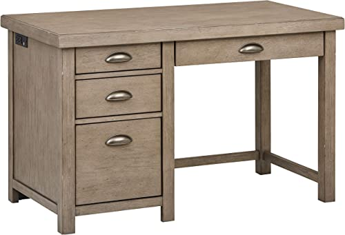 Stone Beam Elias Casual Wood Office Computer Desk, 48 W, Grey