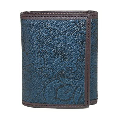 Robert Graham Mens Faux Leather Trifold Wallet with Two Tone Paisley Print