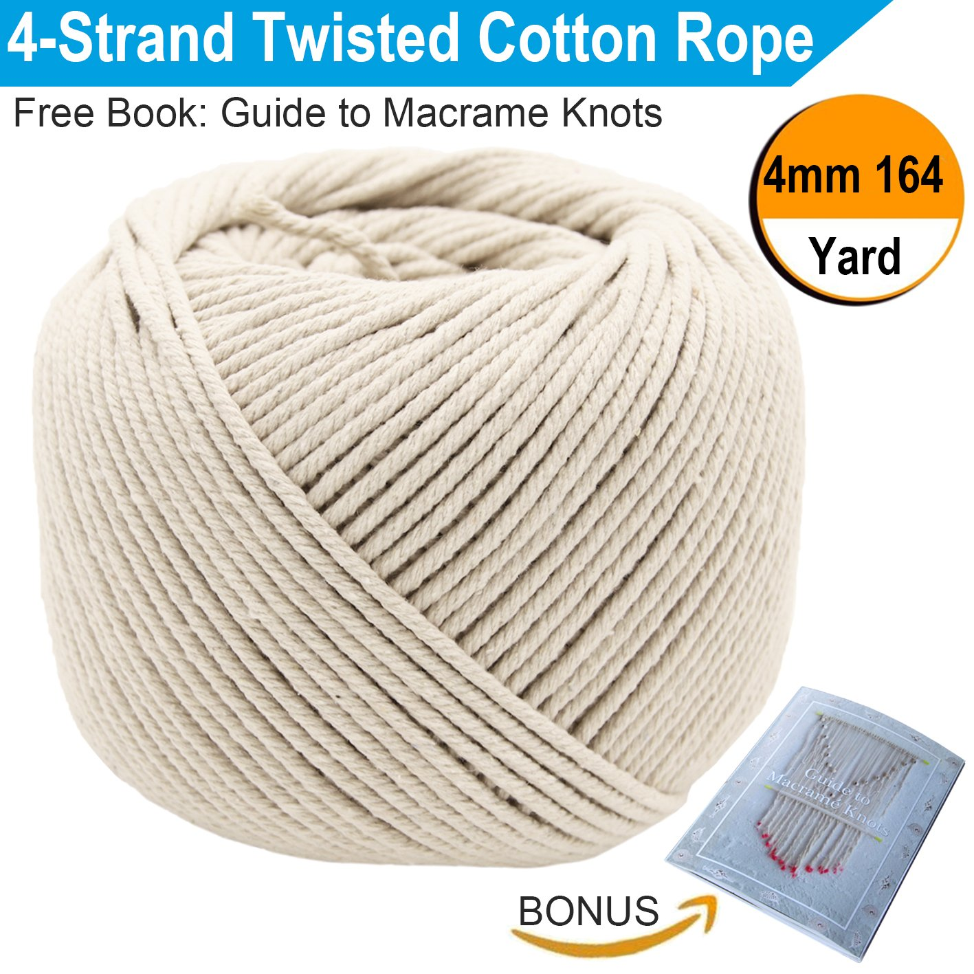 Macrame Cord 4mm x 150m (About 164 yd) | 4-Strand Cotton Macrame Rope for Plant Hangers, Gardening, Clothesline, Crafts, Décor & Decoration | Soft Undyed Off White Cotton Cord