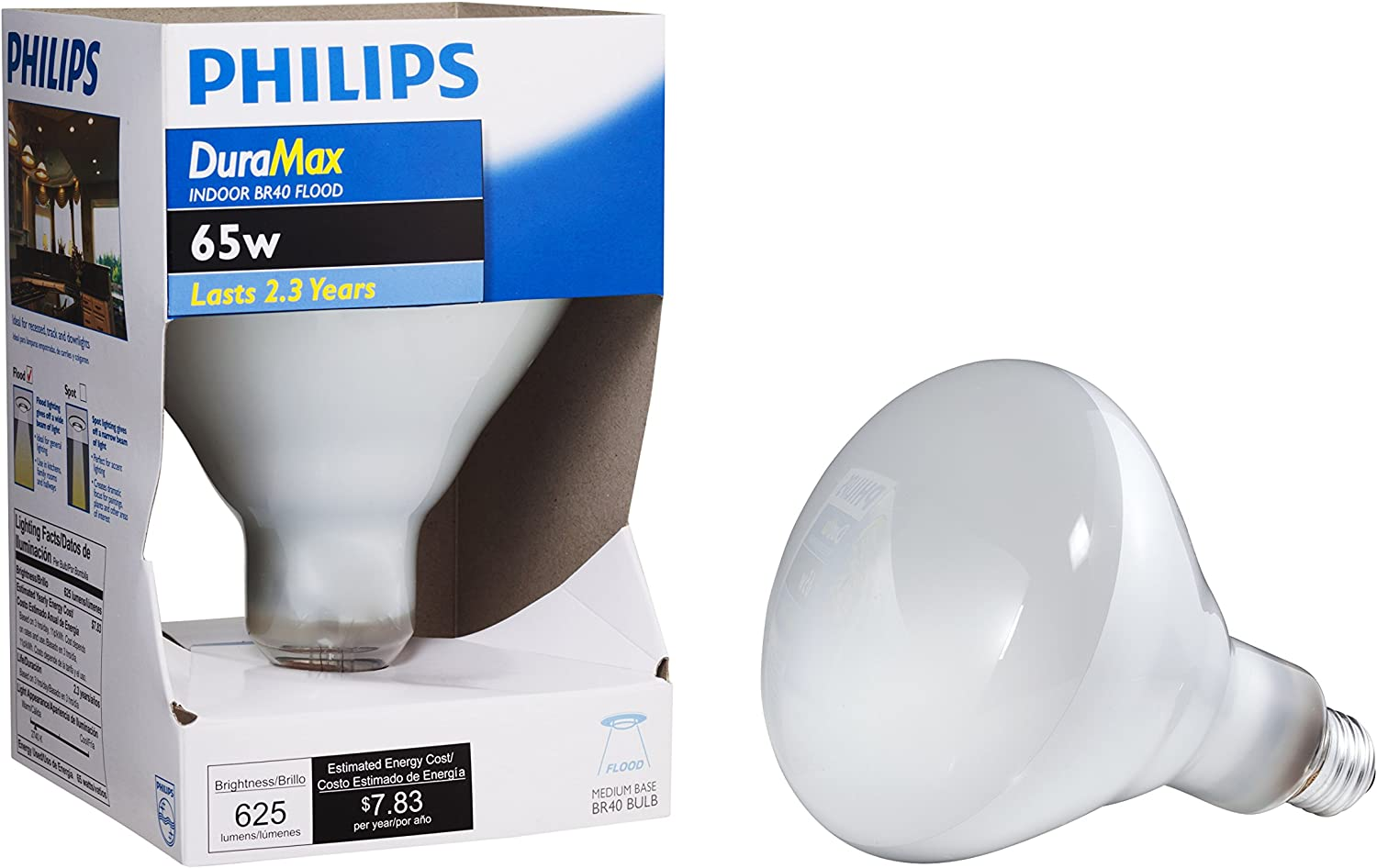 Philips DuraMax 65W Frosted Medium Base BR40 Incandescent Floodlight Light Bulb