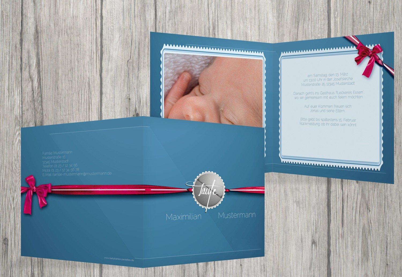Kartenparadies Einladungskarte Taufeinladung Taufkarte Ribbon, hochwertige Einladung zur Taufe inklusive Umschläge   10 Karten - (Format  145x145 mm) Farbe  Rosalila B01MUGKMU5 | Hochwertig  | Glücklicher Startpunkt  | Deutschland Online Shop