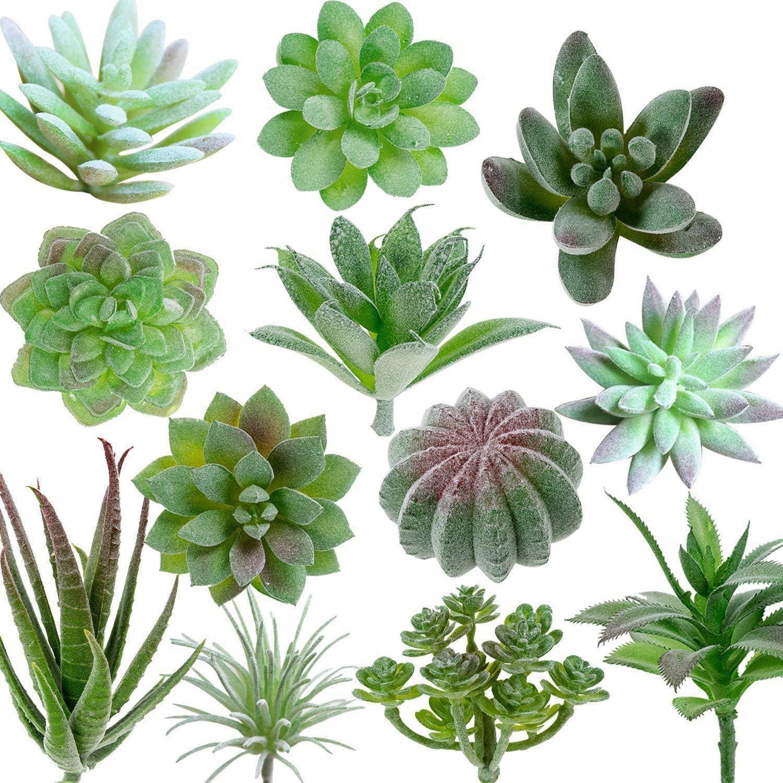 FEPITO 15 Pcs Artificial Succulent Plants Green Unpotted Faux Flower Succulents