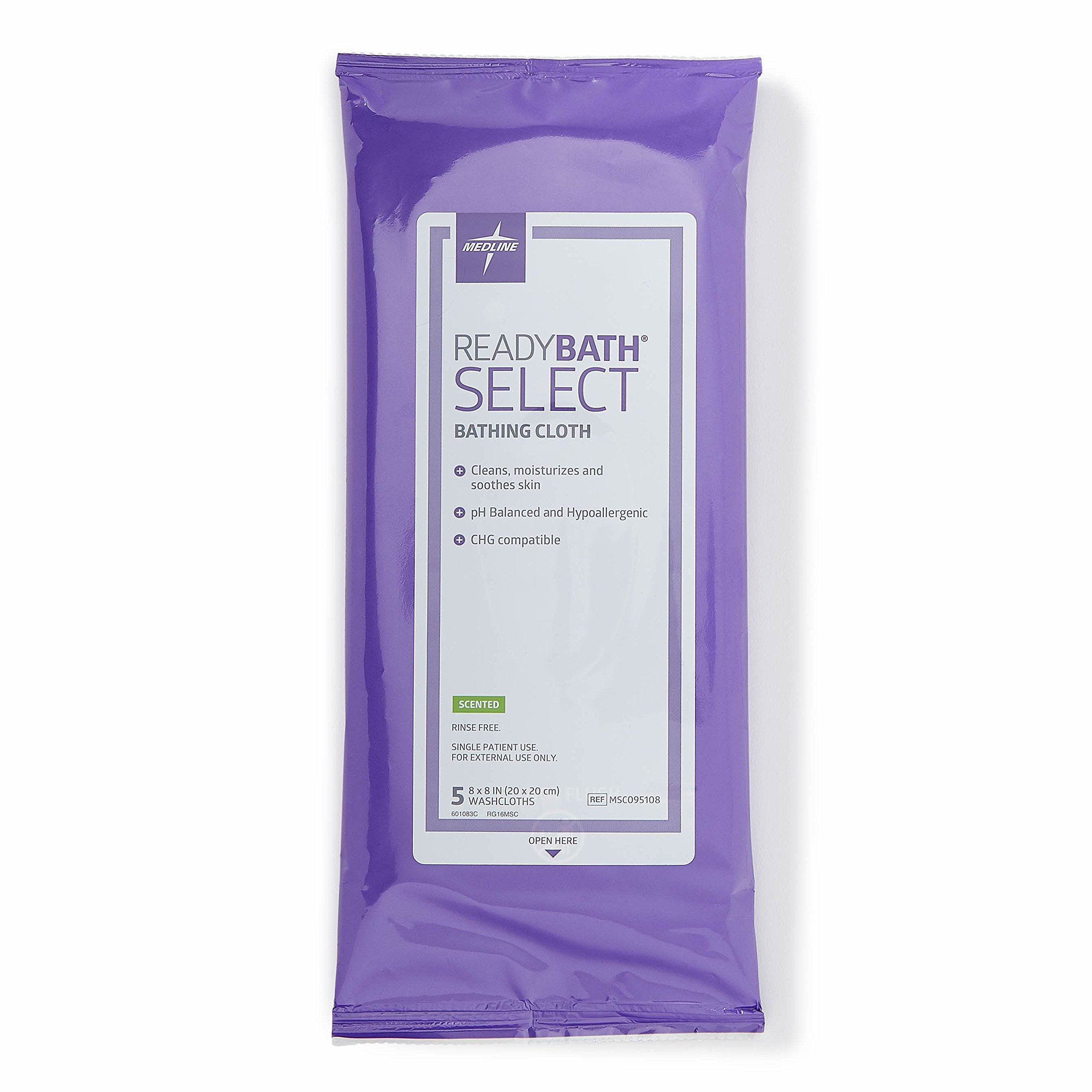 Medline ReadyBath Select Body Cleansing Cloth Wipes, Scented, Medium Weight Wipes (5 Count Pack, 30 Packs) by Medline