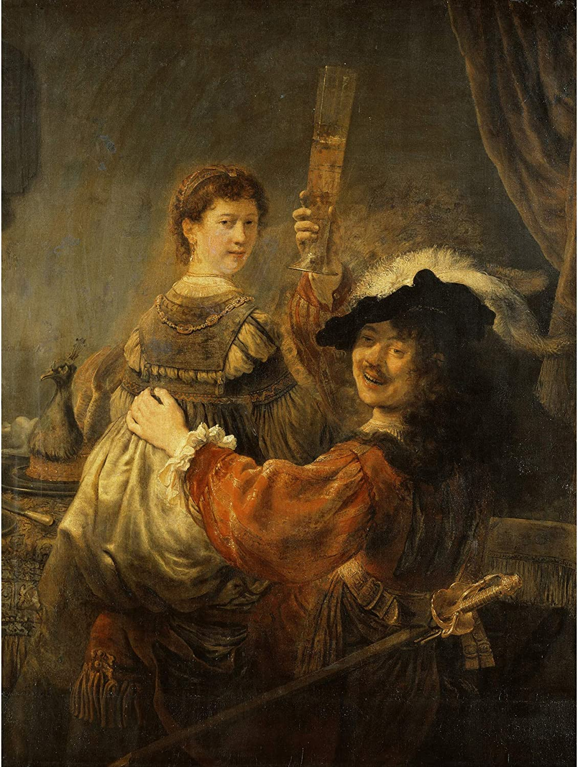 Rembrandt & Saskia In The Scene Of The Prodigal Son Large Art Print Poster Wall Decor Premium Mural