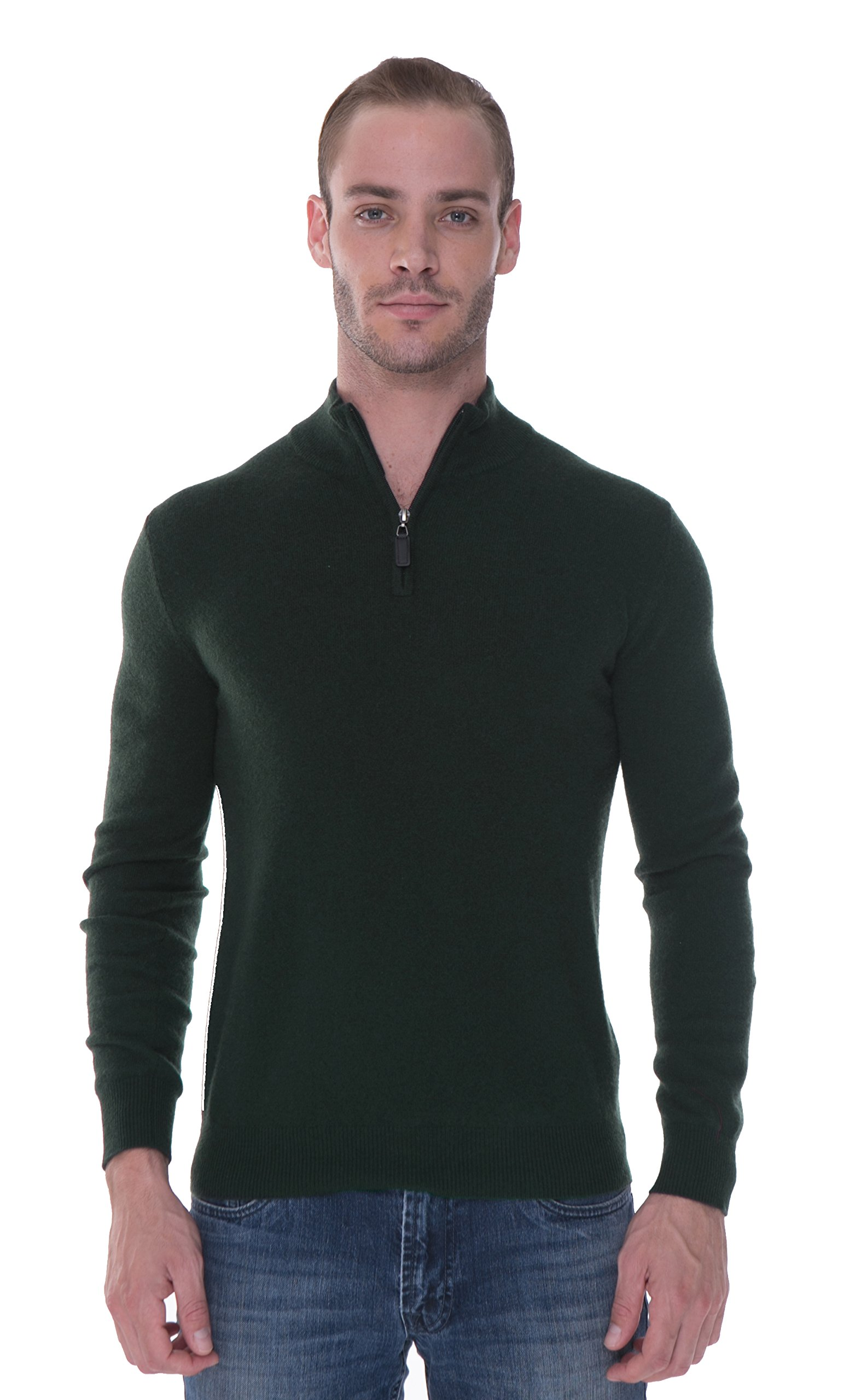 LEBAC 100% Cashmere Sweater Quarter Zip Pullover For Men by