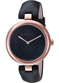 ba79269e937 Gucci Diamantissima Analog Display Swiss Quartz Black Women s Watch (Model YA141401)