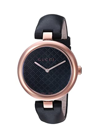 bec2a3dcfa1 Image Unavailable. Image not available for. Color  Gucci Diamantissima  Analog Display Swiss Quartz Black Women s Watch(Model YA141401)