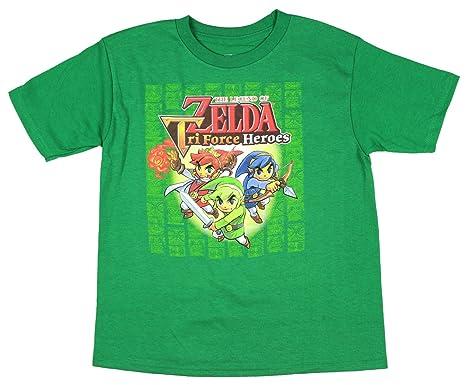 097ba8e0 Legend of Zelda Licensed Nintendo Boy's The Triforce Heroes T-Shirt (Small,  ...