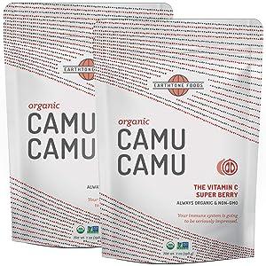 Camu Camu Powder Organic | Premium Peruvian USDA & Paleo Certified Raw Camu Berry - Natural Vitamin C, 16 Ounces (2 x 8)