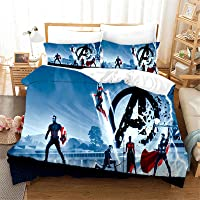 SMNVCKJ Ropa de cama infantil Marvel Avengers Duvet Cover,100% microfibra impresión digital 3D – con funda de almohada…
