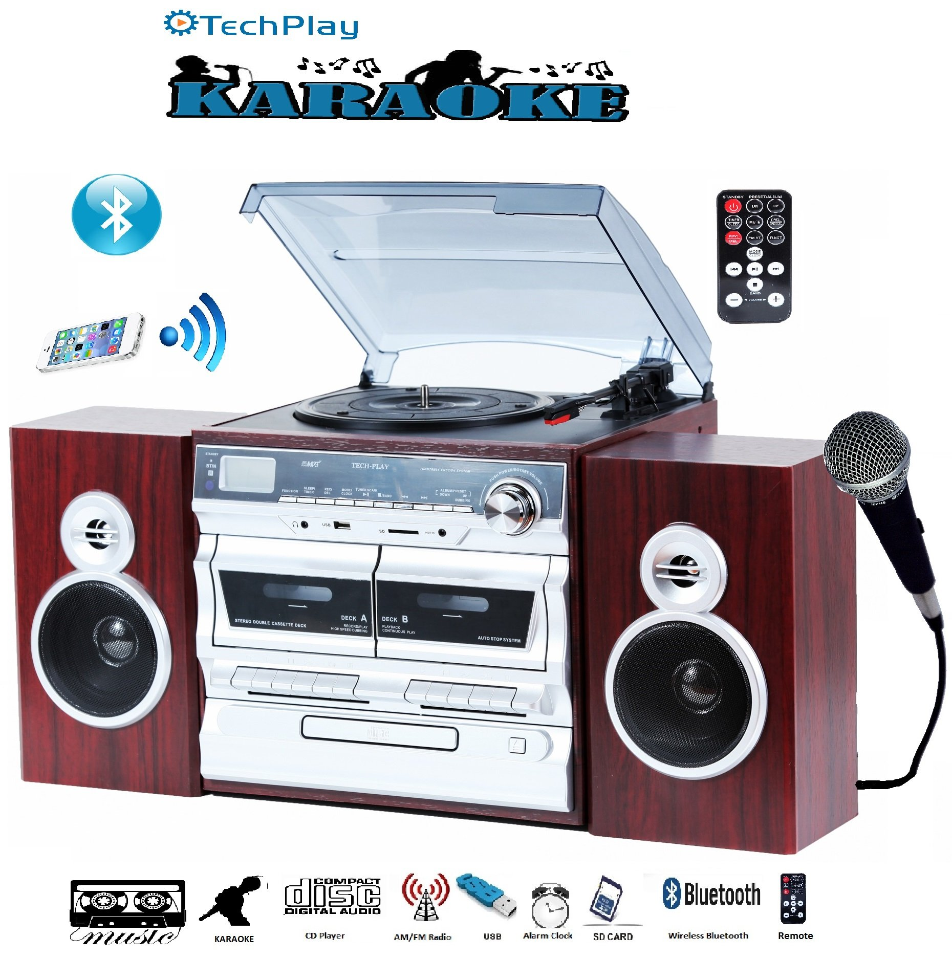 TechPlay Karaoke Enabled, 30W RMS, Retro Classic Turntable, NFC Bluetooth, Double cassette Player/Recorder, CD MP3 player, USB SD ports, AM/FM digital alarm clock and full remote control by TECH-PLAY