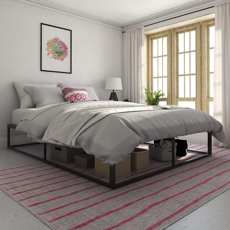 Novogratz Metal Platform Bed with Storage, Black, Queen