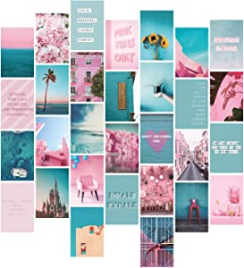 YUMKNOW Aesthetic Wall Collage Kit - 4x6 inch Set of 30, Teen Girl Room Decor for Bedroom Dorm, Motivational Wall Art, Pink Teal Blue Photo Picture Posters, Inspirational Gift for Teenage Girls Her