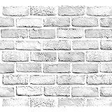 "Yancorp 18 inch Wide 394"" White Gray Brick Wallpaper Grey Self-Adhesive Paper Home Decoration Peel and Stick Backsplash Wall"