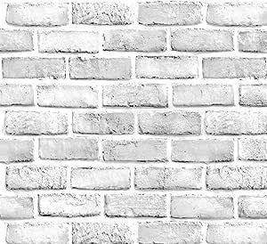 "Yancorp White Gray Brick Wallpaper Grey Self-Adhesive Paper Home Decoration Peel and Stick Backsplash Wall Panel Door Christmas Decor (18""x120"")"