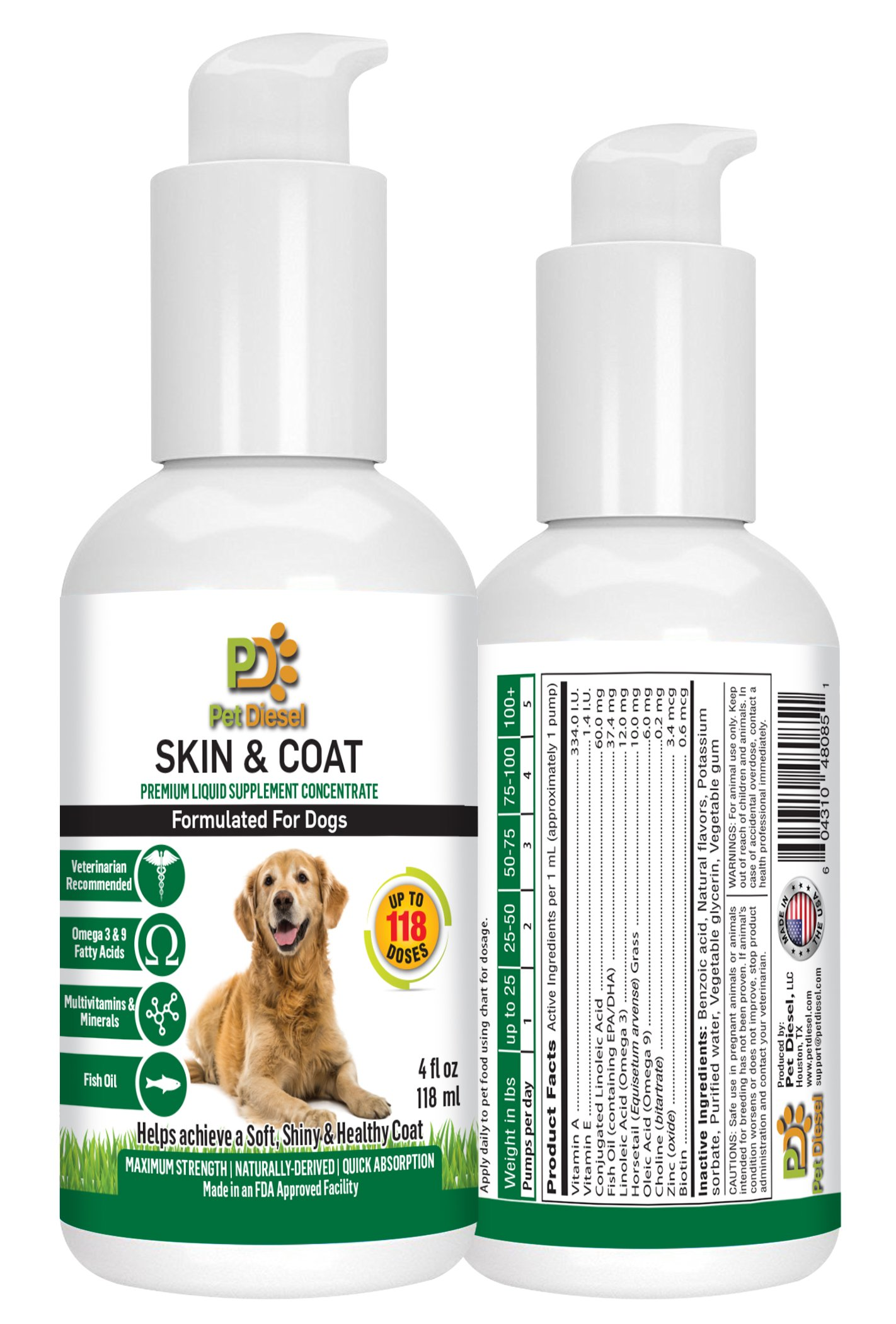 Pet Diesel Skin & Coat Liquid Vitamins/Supplement For Dogs | Naturally Derived Formula | Omega 3 6 & 9 Fatty Acids, Vitamins A & E, Fish Oil For Itchy Dry Skin & Shedding | Enhances Heart And Immunity