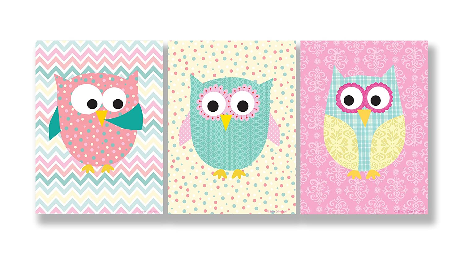 11 x 0.5 x 15 The Kids Room by Stupell Pastel Whimsical Owls 3-Pc Wall Plaque Set Proudly Made in USA brp-1587 trio