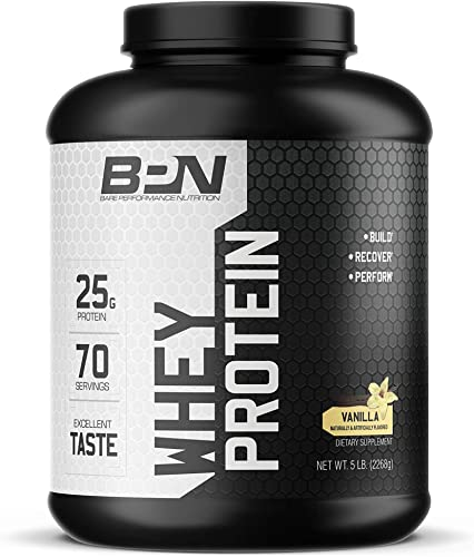 Bare Performance Nutrition, Whey Protein Powder, Meal Replacement, 25G of Protein, Excellent Taste Low Carbohydrates, 88 Whey Protein 12 Casein Protein 70 Servings, Vanilla