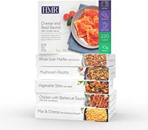 HMR Delicious Dinners Entree Pack 1 ea Mac & Cheese, Cheese & Basil Ravioli, Whole Grain Medley w/Chicken, Chicken w/Barbecue Sauce, Vegetable Stew w/Beef, Mushroom Risotto, 7–8 oz. Servings, 6 Meals