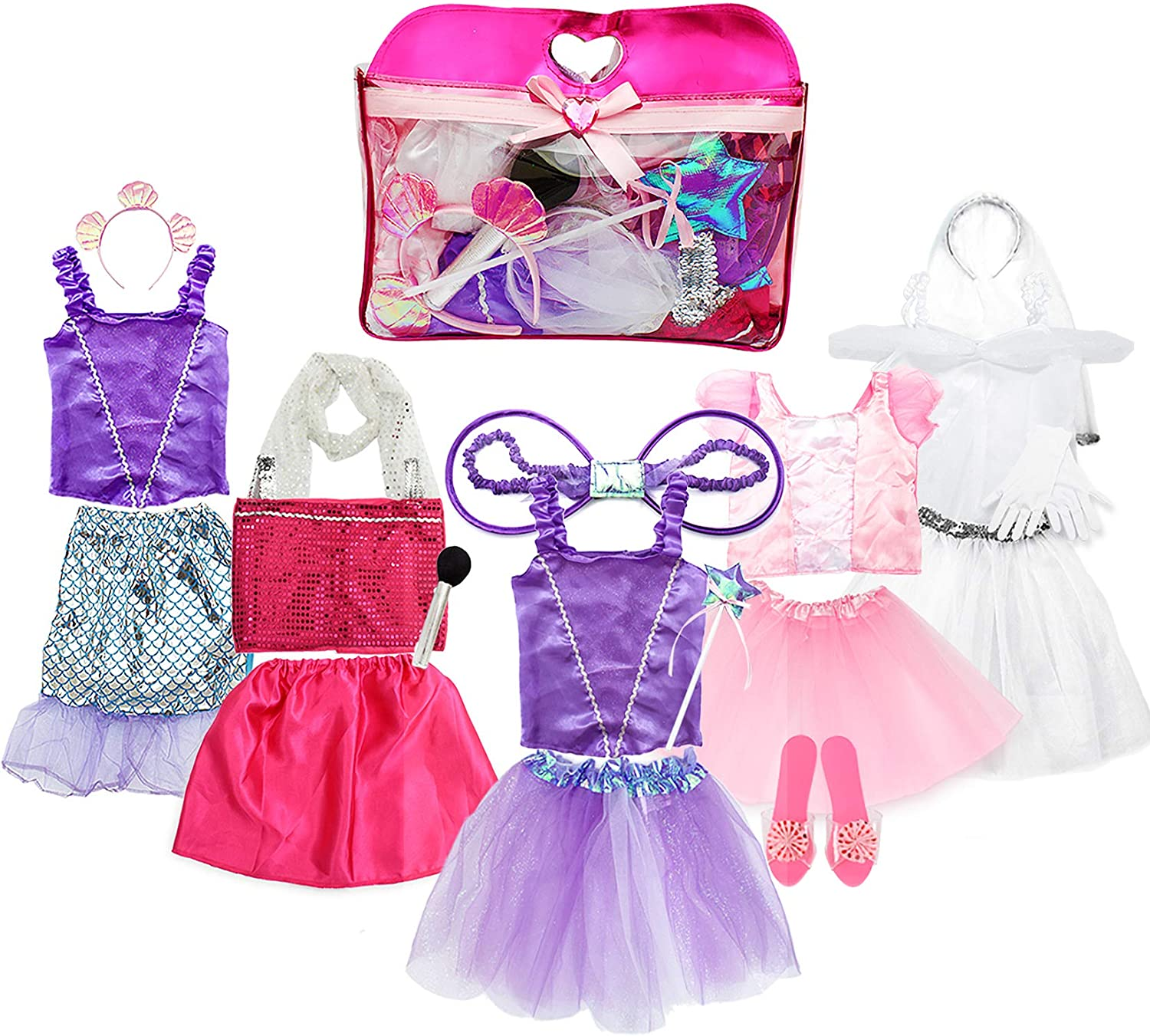 Toiijoy Girls Dress up Costume Set Princess,Fairy,Mermaid,Bride,Pop Star  Costume for Little Girls Toddler Ages 5-5yrs