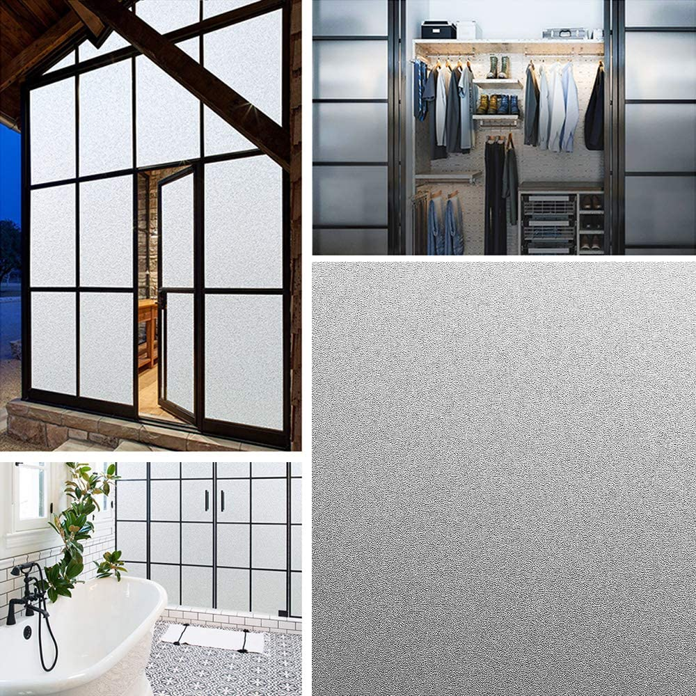 No Glue Static Cling Window Cling for Home Bathroom Living Room Office Meeting Room Glass Window Door,35 by 118 Inches Coavas Frosted Privacy Window Film