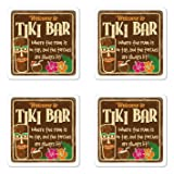 Ambesonne Tiki Bar Coaster Set of Four, Aged Old