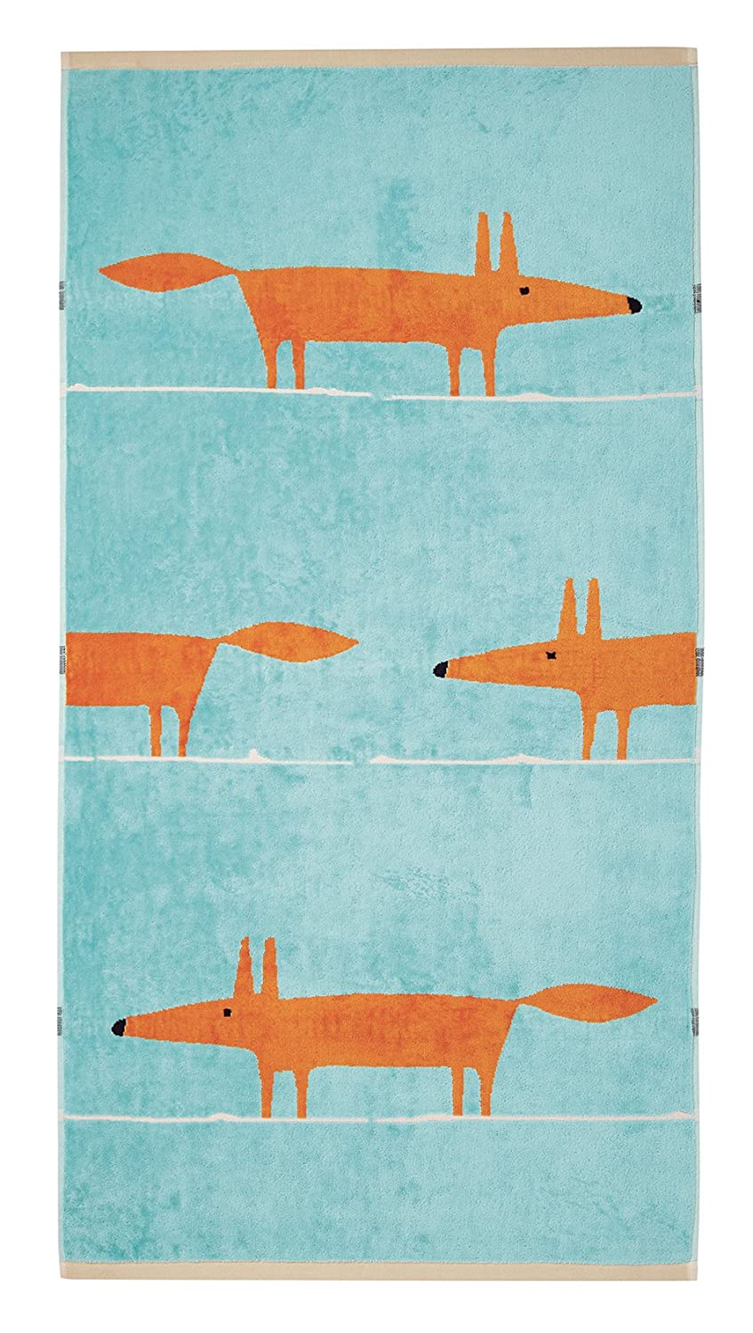 Scion MR Fox Aqua, Bath Sheet, Cotton, 90 x 150 x 0.2 cm Bedeck TWLMRFQ4AQU
