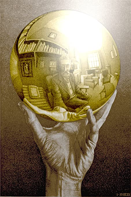 Amazon.com: WALL Art Escher SPHERE Colorized ILLUSION DECAL Poster ...
