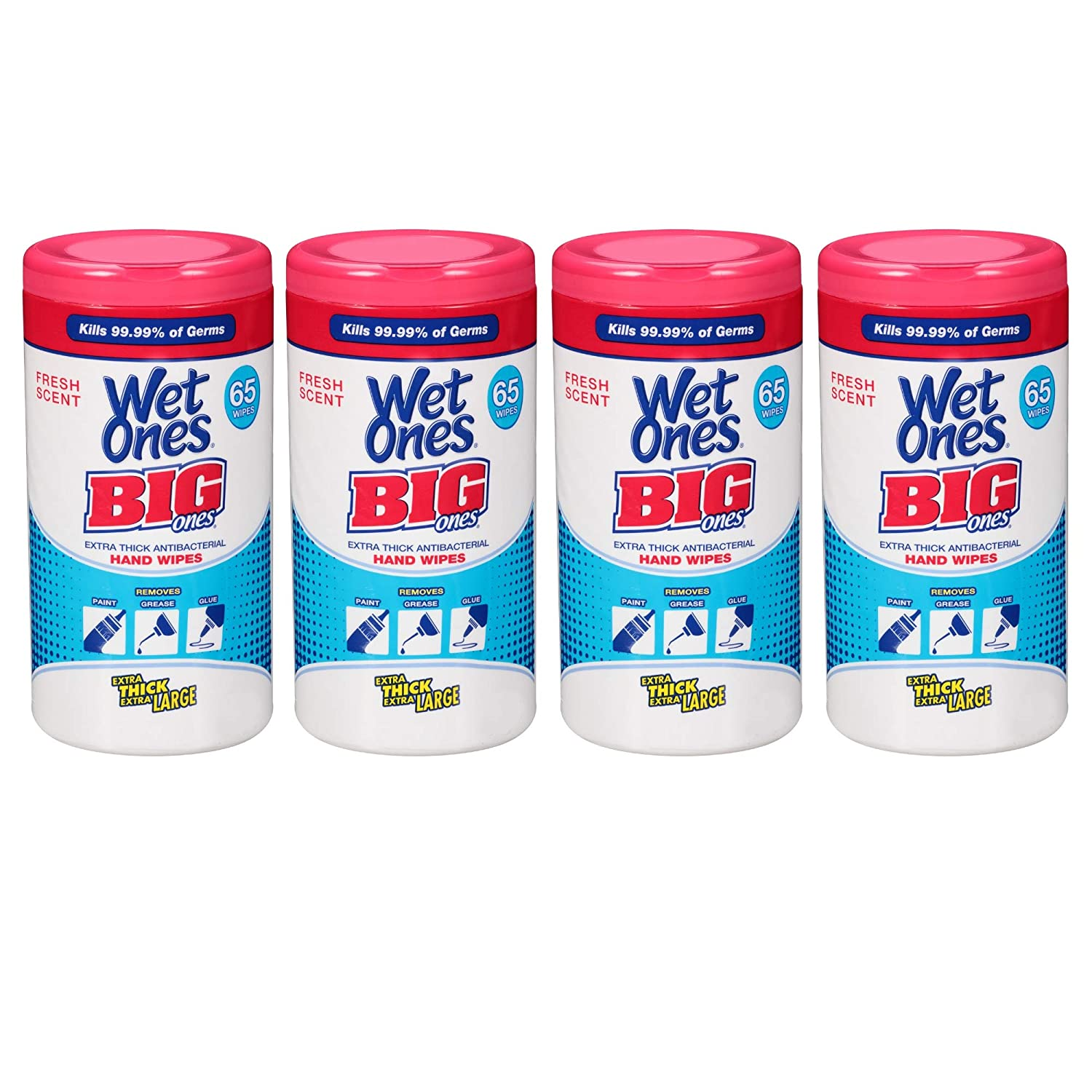 Wet Ones Big Ones Antibacterial Hand Wipes Canister - 65 Count, 2 Pack