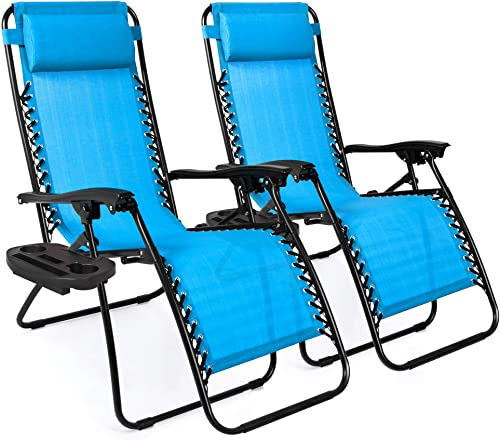 Best Choice Products Set of 2 Adjustable Steel Mesh Zero Gravity Lounge Chair Recliners w Pillows and Cup Holder Trays, Light Blue