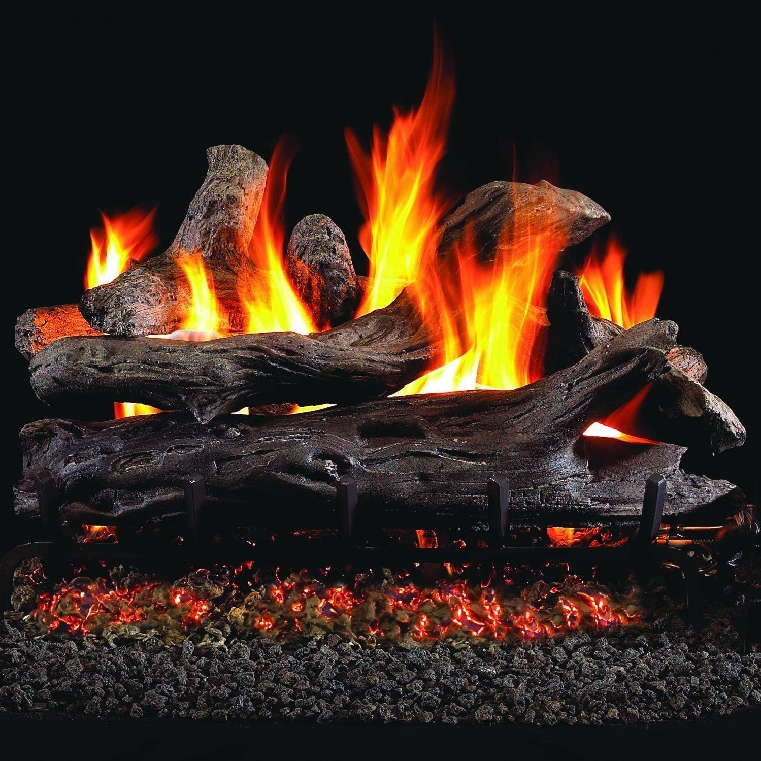 Set of 20 Wooden Ceramic Fireplace Logs for Gas Ethanol Fireplace ...