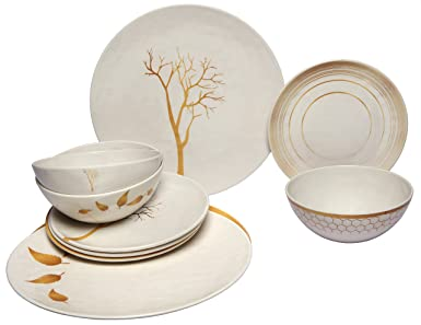 Melange 36-Piece 100% Melamine Dinnerware Set (Gold Nature Collection ) | Shatter  sc 1 st  Amazon.com & Melange 36-Piece 100% Melamine Dinnerware Set (Gold Nature Collection ) | Shatter-Proof and Chip-Resistant Melamine Plates and Bowls | Dinner Plate ...