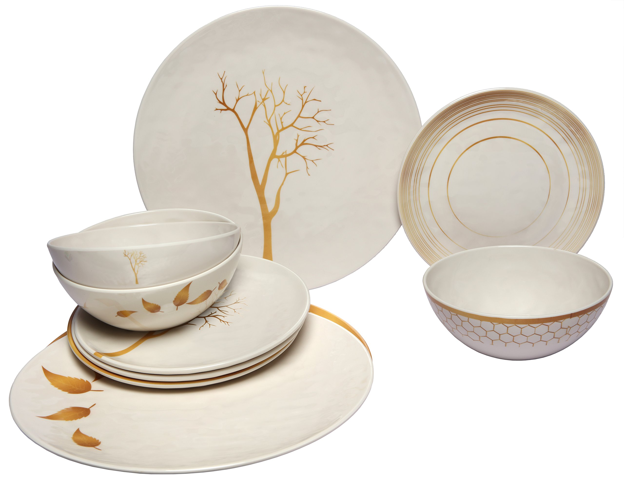 Melange 12-Piece 100% Melamine Dinnerware Set (Gold Nature Collection) | Shatter-Proof and Chip-Resistant Melamine Plates and Bowls | Dinner Plate, Salad Plate & Soup Bowl (4 Each)